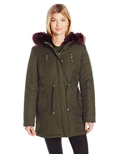 Betsey Johnson Women's Cotton Parka with Color Faux Fur Trim, Olive/Multi, S by Betsey Johnson