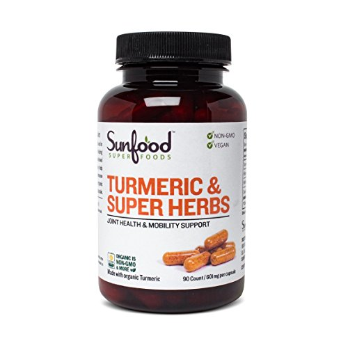 Sunfood Superfoods Tumeric & Super Herbs Capsules. Blend of 5 Medicinal Herbs. Tumeric Supplement. 601 mg, 90 Count