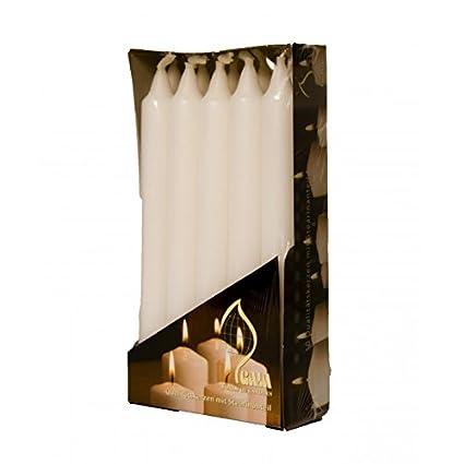 Bougilux - 10 Bougies Chandelles Creuses - Ne Coulent Pas - Diamètre 2, 2Cm X 21 Cm - Blanc Allemagne