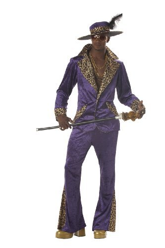 [Deluxe Purple Pimp Men's 1970s Fancy Dress Outfit 70s Adult Costume + Hat XL by Mega Fancy Dress] (70s Outfit Men)