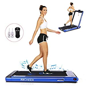 ANCHEER Under Desk Folding Treadmill,2 in1 Electric Exercise Treadmill,2.25HP Fitness Walking Running Machine with Remote Control&Digital Monitor for Home Gym Office.(Blue)