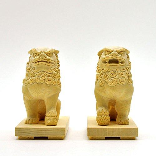 厳選手彫り開運魔よけアイテム  木彫 ★桧木狛犬(唐獅子)阿吽セット 総高10cm B01GZMUWXQ