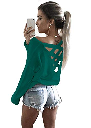 (Yingkis Women's Cut Out Loose Pullover Criss Cross Backless Sweater Shirt Top,Green M )