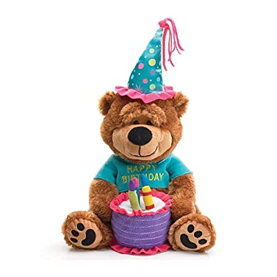 "Adorable Happy Birthday Teddy Bear With Cake That Plays ""Happy Birthday To You"": Toys & Games"