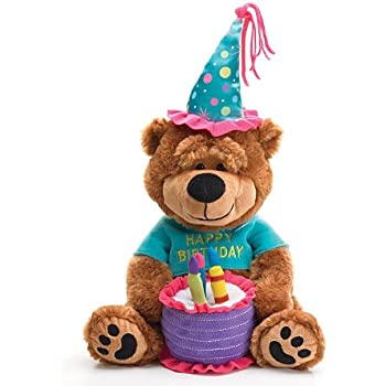 """Adorable Happy Birthday Teddy Bear With Cake That Plays """"Happy Birthday To You"""""""