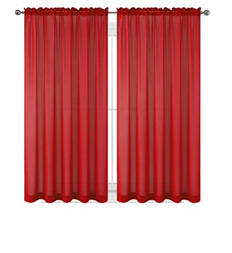 WPM  60 x 63-Inches Sheer Window Elegance Curtains/drape/panels/treatment, Red