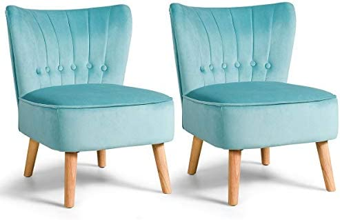 Giantex Set of 2 Modern Velvet Accent Chair, Upholstered Leisure Sofa Chair w Wood Legs, Thickly Padded and Button Tufted, Armless Wingback Club Chairs for Living Room Bedroom Furniture 2,Turouoise