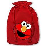 Elmos World Running Christmas Drawstring Gift Bag Personalized Santa Sack for Holiday Favors