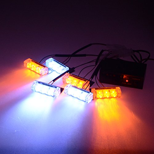 6X 18-LED Amber & White Caution Police Emergency Flash Light Bar For Chevrolet Dodge Ford GMC (Us Postal Jeep)