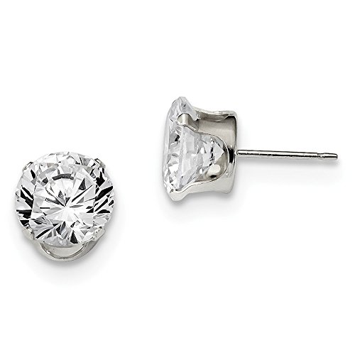 Round Sterling Silver Snap 9mm (Solid .925 Sterling Silver 9mm Round Snap Set CZ Cubic Zirconia Cubic Zirconia AAA+ Quality Stud Earrings 9x9mm)