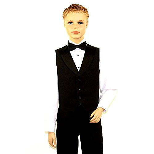 Black Full Back Tuxedo Vest - Kids Black Full Back Tuxedo Vest with Black Lapel X Large