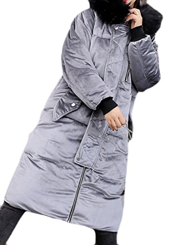 Hooded amp;S Women's Faux amp;W Parka Gery Jacket Velvet M Cotton Coat Lining Fur Long 6wqXZp1