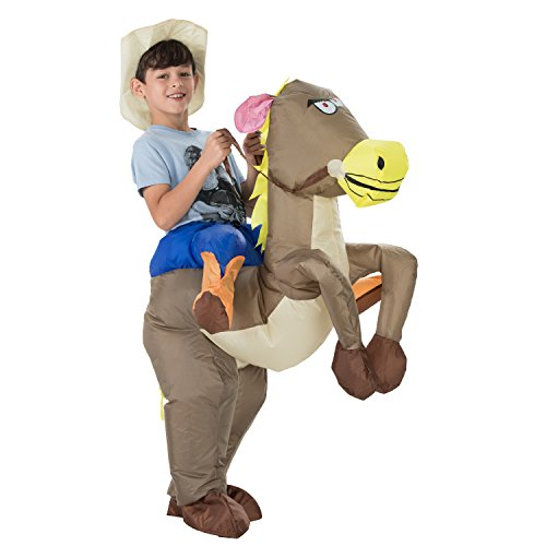 TOLOCO Inflatable Dinosaur T-Rex Costume | Halloween Cosplay Costumes for Adult/Child | Blow Up Costume,One Size Fits Most (Child Horse) -