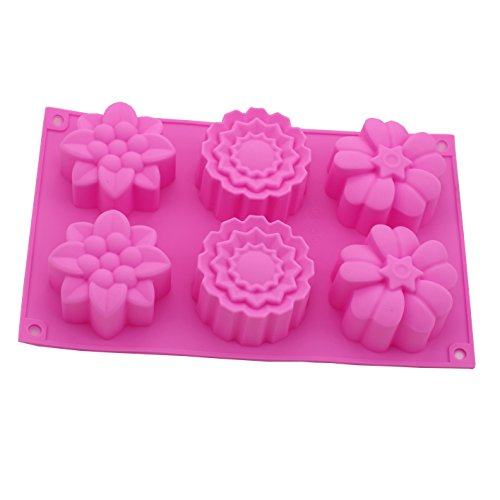 Zicome 6-Cavity Flower Shape Silicone Mold for Making Soaps and Lotion Bars, Set of 2