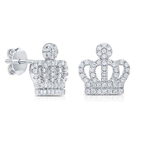 Cubic Zirconia Royal Crown Shape Stud Earring (Crown Earrings)