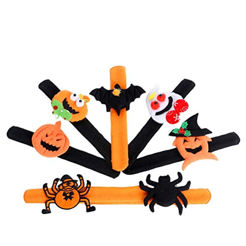 BESTOYARD Halloween Bracelets Spider Pumpkin Slap Bracelet Halloween Snap Braclet Wristband Band Party Favors 12pcs ()