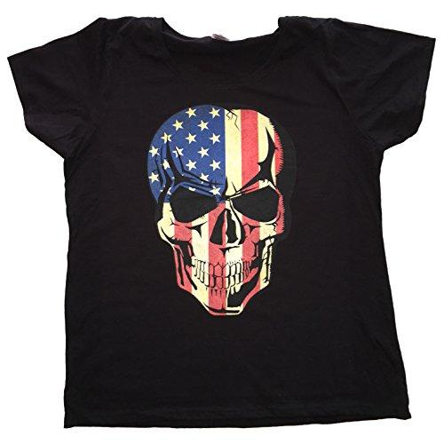 """USA T Shirt Orginal USA Motiv """"AMERICAN FLAG SKULL"""" Fun Rat Motorrad Hotrod Biker Pin Up Girl"""