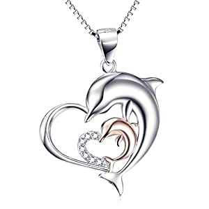 Angel caller Sterling Silver Rose Gold Double Dolphin Love Heart Pendant Necklace 18""