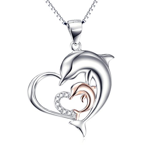 Rose Gold Necklace 925 Sterling Silver Two-tone Eternal Love Heart Double Dolphin Pendant with Chain 18