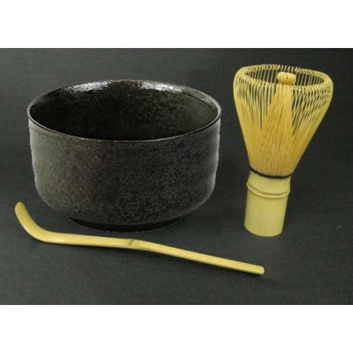 Happy Sales Tea Ceremony Set Bowl and Whisk Grey/Black
