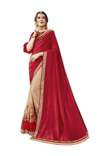 Indian Sarees For Women Wedding Red & Cream Designer Party Wear Traditional Sari by Dessa Collections