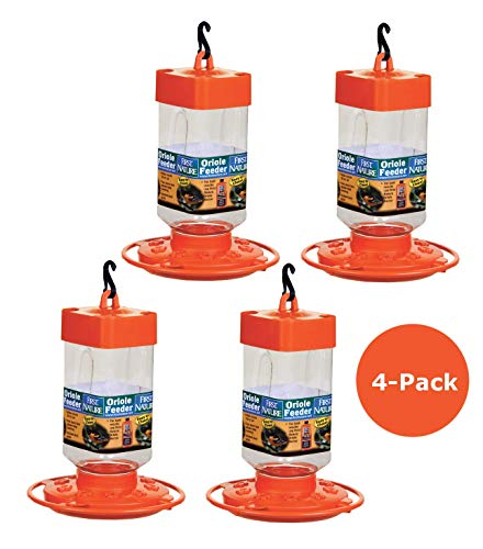 (4-Pack First Nature 3088 Orange Oriole Nectar Feeder- Made in the USA 32 oz. )