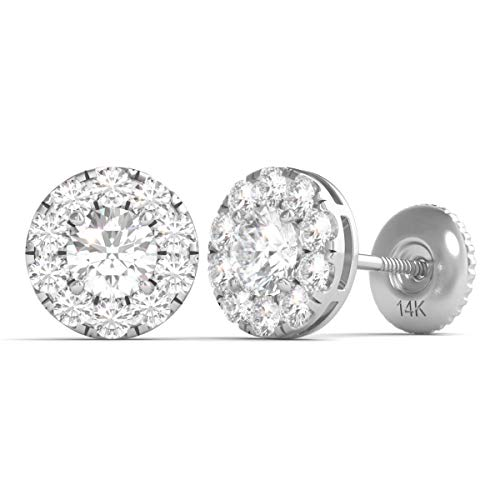 Diamond Halo Stud Earrings Set With 22 Round Brilliant Natural Diamonds in 14K White Gold with Screw Back Post IGI Certified (G-H, I1) (0.75) ()