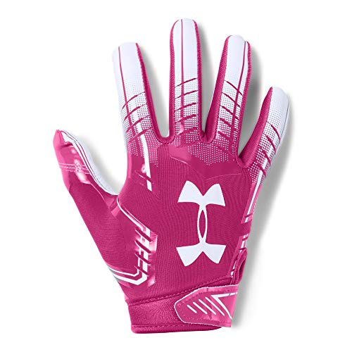 Under Armour Boys' F6 Youth Football Gloves, Tropic Pink (654)/White, Youth -
