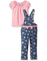 Little Girls' 2 Piece Overal Set with Floral Design