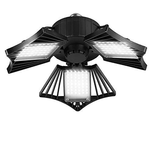 80W LED Garage Light, Deformable LED Garage Ceiling Lights with 3 Adjustable Wings, 8000LM, E26 LED Garage Lighting for…