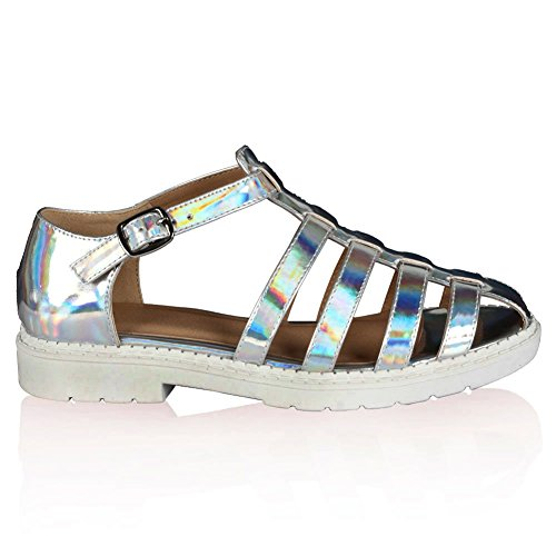 WOMENS STRAPPY LADIES CUT OUT SUMMER GLADIATOR GEEK SANDALS SHOES SIZE 3-8 Silver HdnmXA7va