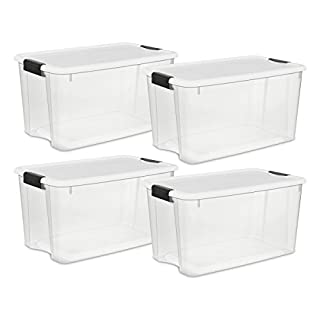 Sterilite 19889804 70 Quart/66 Liter Ultra Latch Box, Clear with a White Lid and Black Latches, 4-Pack (B001RCUNJ8) | Amazon Products