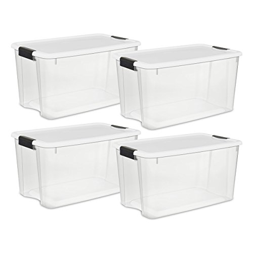 Sterilite 19889804 70 Quart/66 Liter Ultra Latch Box, Clear with a White Lid and Black Latches, 4-Pack (Plastic Containers Tote)