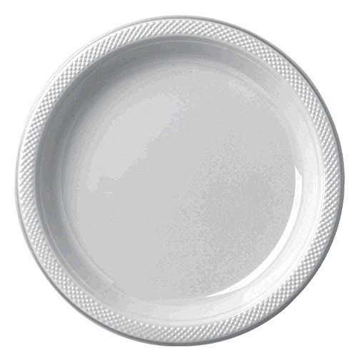 Reusable Party Round Dinner Plates Tableware, 20 Pieces, Made from Plastic, Silver, 10 1/4