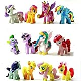 Top Valu Fast Ship 12 Piece Set My Little Pony Cake Toppers Cupcake Toys PVC Figurines Decoration Life Ornaments Gift Birthday Function Party