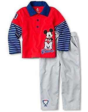 Infant Boys Mickey Mouse 2 Piece Outfit Pants Long Sleeve Shirt Set