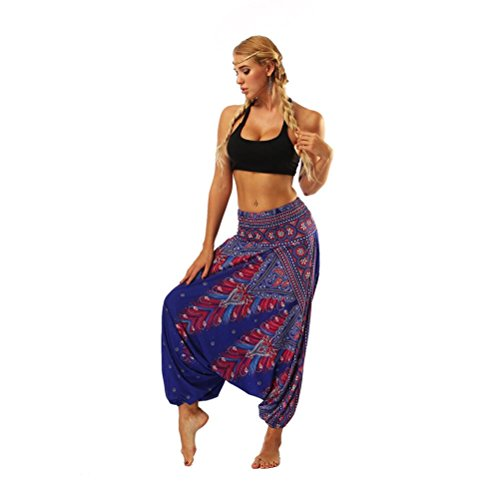 iYBUIA Women Casual Peacock Print Summer Loose Yoga Trousers Baggy Boho Aladdin Jumpsuit Harem Pants(Blue-1 ,Free Size)