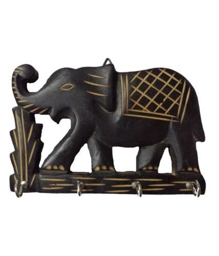 Elephant Wooden Hand Carved Wall Hanging Key Holder with 4 Hooks Home Kitchen Decor