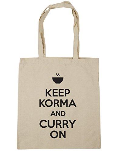 HippoWarehouse Keep Korma y Curry en Tote Compras Bolsa de playa 42cm x38cm, 10litros, rojo clásico (rojo) - 21424-TOTE-Classic Red natural