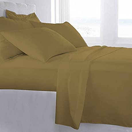 Lussona Collection 1200 Thread Count 300 GSM 100 Egyptian Cotton Quality 5 Piece Comforter Includes 1 PC Comfoter 4 PCs Sheet Set 15 Deep Pocket Full Gold