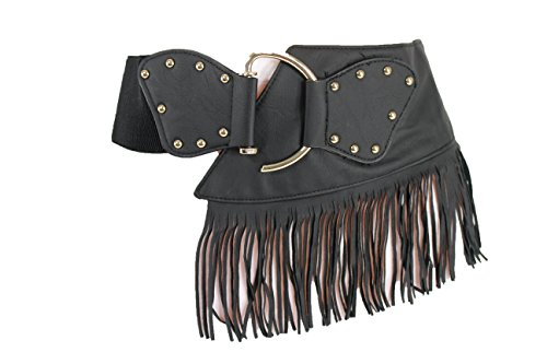 TFJ Women's Fashion Wide Fringes Belt Hip Waist Gold Buckle S M Black Brown (Black) (Fringe Hip Belt)