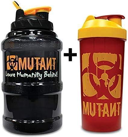 Mutant Gran Capacidad Gimnasio Botella Bidón Jarra 2.6L & Mezclador de Proteínas 1L
