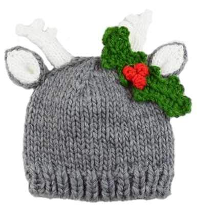 The Blueberry Hill Hartley Deer Hat with Holly (Small 12-24 Months) Gray