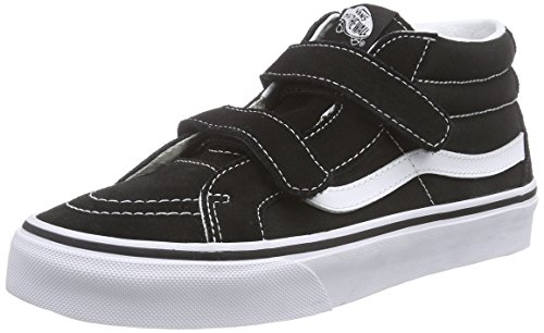 Vans Kids Sk8-Mid Reissue V Skate Shoe Black/True White 4.5 (Vans Strap Shoes)