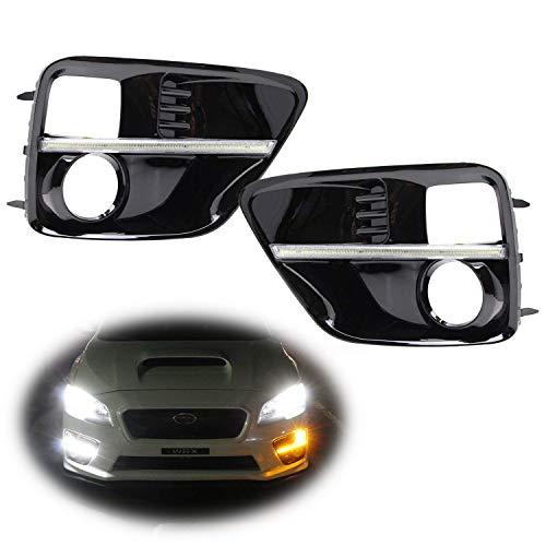 iJDMTOY Switchback LED Daytime Running Lights For 2015-2017 Subaru WRX/STi w/JDM Style Piano Black Finish Fog Lamp Bezels, Xenon White LED as DRL & Amber Yellow LED as Turn Signals