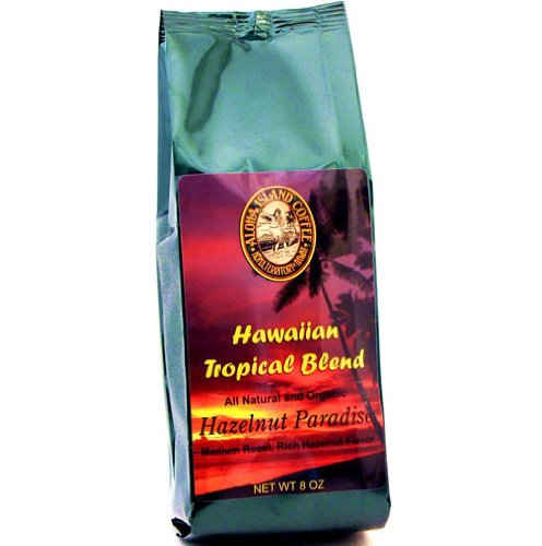 Aloha Island Kona Hawaiian Organic Hazelnut Flavored Coffee 8 Oz Whole Bean