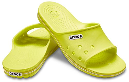 Crocs Unisex Crocband II Slide Synthetic Slippers Tennis Ball Green/White Size EU 45-46 - US M11 by Crocs