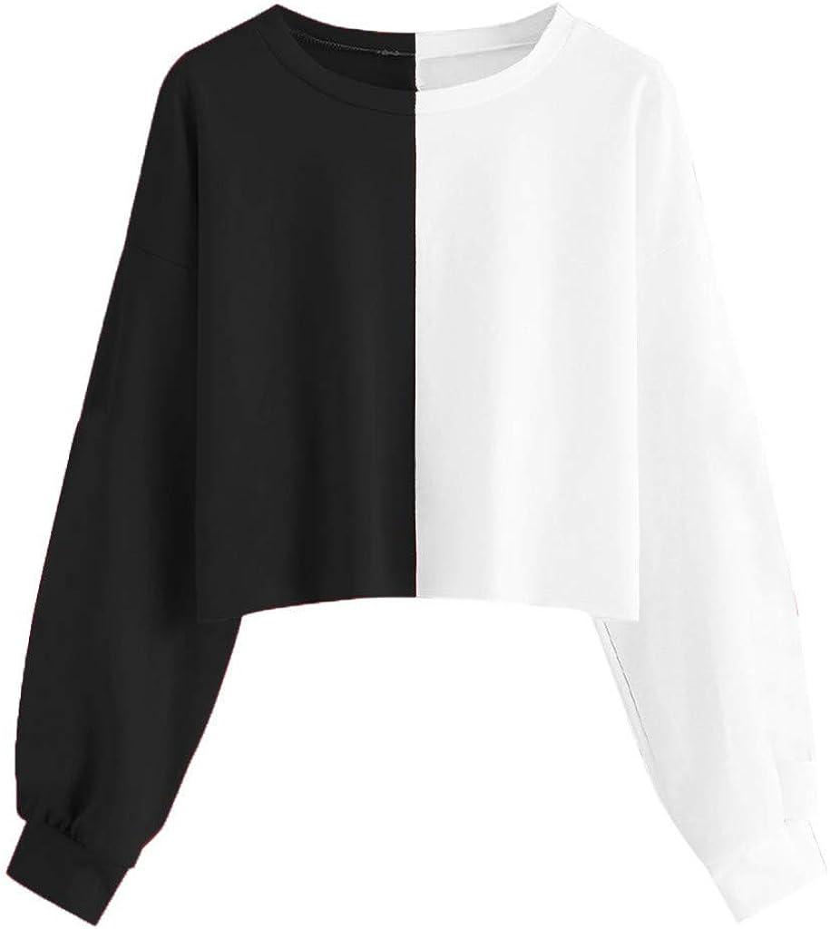 FELZ Sudaderas con Capucha Cortas Mujer Chicas Patchwork Sudaderas para Mujer Tumblr Empalme de Color Blusa Tops Camiseta de Manga Larga Hoodie Tops Otoño e Invierno Roap de Mujer: Amazon.es: Ropa y