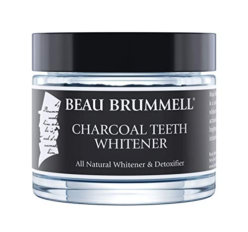 Mens Activated Charcoal Teeth Whitener by Beau Brummell | All Natural Ingredients Including Activated Charcoal & Organic Coconut Infusion | Supports Gum Health