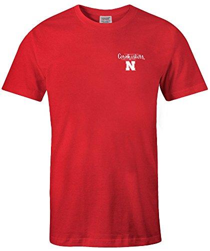 (NCAA Nebraska Cornhuskers Adult NCAA Sketchbook Comfort Color Short sleeve T-Shirt, Large,Red)